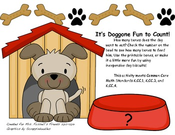 It's Doggone Fun to Count 0-10 Common Core Math Center K.CC.1, K.CC.3, K.CC.4