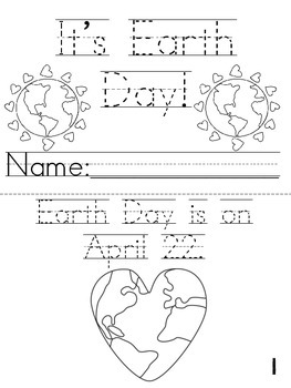 """""""It's Earth Day!"""" Printable Cut, Trace & Color Book!"""