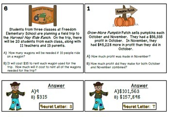 It's Fall Y'all! {5 Math Centers for Older Students}  CCSS