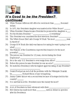 Its Good to be the President Video Questions (History Channel)
