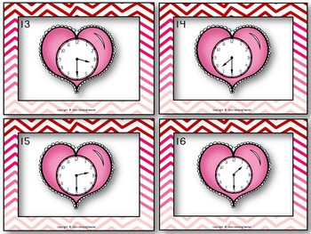 It's Heart Time Valentine's Day Task Cards for Telling Time Game Analog Clocks