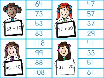 It's Kid's Stuff- Plus and Minus 'Tens' - clothespin cards