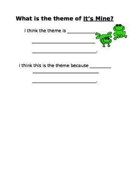 It's Mine! by Leo Lionni theme activity and vocabulary chart