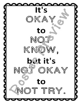 """It's Not Okay Not to Try (16""""x20"""") Printable Poster"""