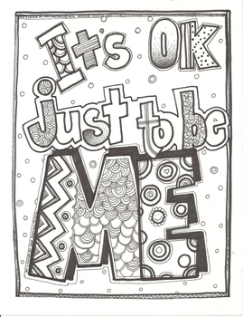 Its OK Just To Be Me Confidence Building Coloring Sheet