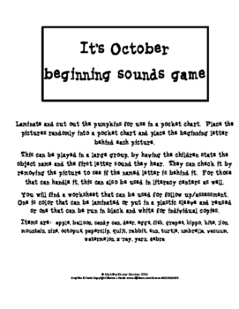 Its October Beginning Sounds Game