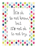 It's Ok Not to Know Motivational Poster for Classroom
