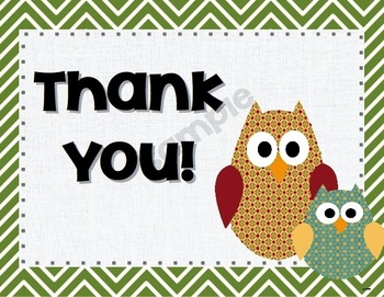 Owl and Chevron Thank You Cards