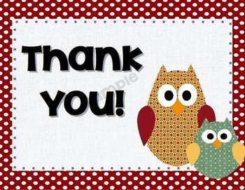 Owl and Polka Dot Thank You Cards