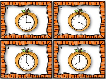 It's Pumpkin Time Halloween Task Cards for Telling Time Game with Analog Clocks