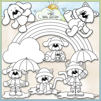 It's Raining Cats & Dogs 1 - Commercial Use Clip Art & Black & White Images