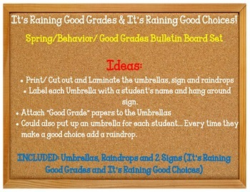 It's Raining Good Grades Good Choices. Bulletin Board Set Idea Behavior