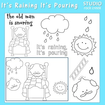 Its Raining Its Pouring The Old Man Is Snoring Line Art