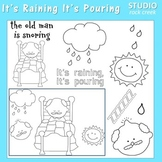 It's Raining It's Pouring The Old Man is Snoring Line Art