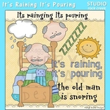 It's Raining It's Pouring The Old Man is Snoring Nursery Rhyme ClipArt C. Seslar