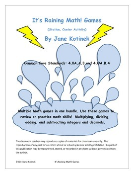 It's Raining Math! Game  Decimals & Integers Multiplying,