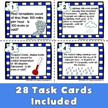Primes, Composites, & Factors Weather Task Cards