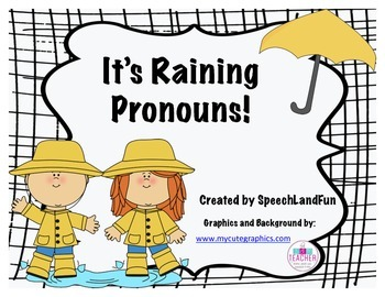 It's Raining Pronouns! Speech Therapy Freebie