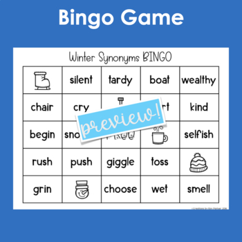 Synonyms- It's Snowing Synonyms- 3 Fun Synonym Games