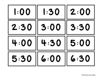 Freebie Telling time to the hour and half-hour