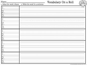 It's Thanksgiving! Vocabulary On a Roll