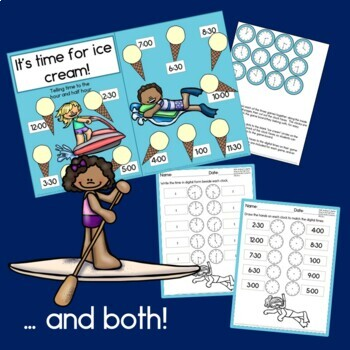 It's Time for Ice Cream!  Telling time to the half hour, first grade math