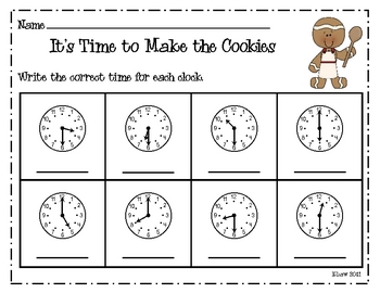 It's Time to Make the Cookies Game--Time to the Half Hour