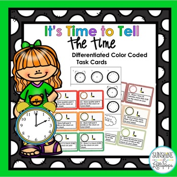 Telling Time Differentiated Task Cards Aligned with Common Core