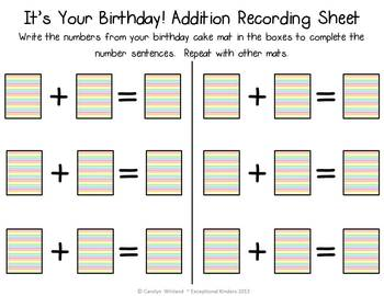 It's Your Birthday! Addition Mats - Decomposing Numbers