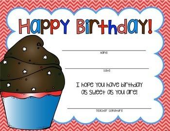 It's Your Birthday!  Classroom Goodies for Student Birthdays