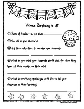 It's Your Birthday! Classroom template for Creating a Birthday Book