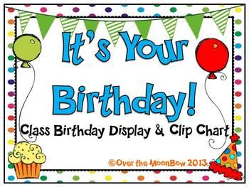It's Your Birthday! Display & Clip Chart – Rainbow Polka Dots
