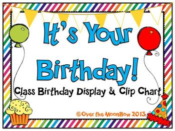 Its Your Birthday Display Clip Chart Rainbow Stripes By Over The MoonBow