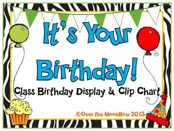 It's Your Birthday! Display & Clip Chart – Zebra-Multi