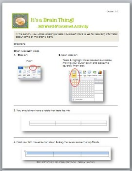 It's a Brain Thing! 3 Major Parts of the Brain Activity Pack for Grades 3-5