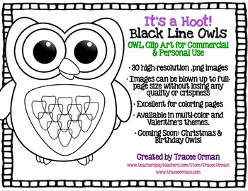 Black Line Owl Clipart Graphics for Commercial Use