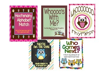 Its a Hoot Owl Theme Literacy and Math Games Centers