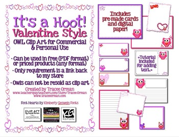 It's a Hoot! Valentine Style Owl Clipart & Graphics for Commercial Use