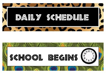 It's a Jungle Classroom Schedule Cards