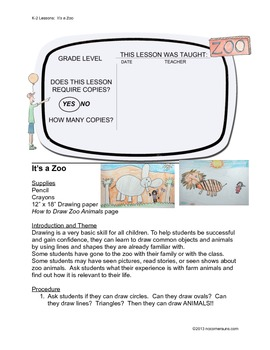 It's a Zoo!  Complete How to Draw Art Lesson for K-2.