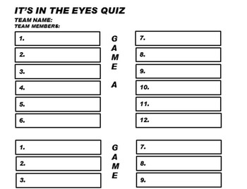 It's in the Eyes Celebrity Quiz Game for Middle School and above