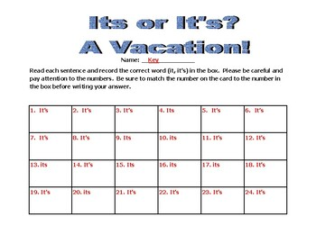 Its or It's? A Vacation!