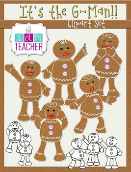 It's the G-Man: Gingerbread Man Clip Art Set
