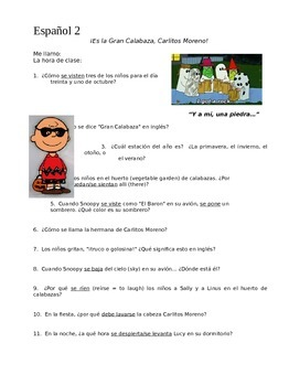 It's the Great Pumpkin Charlie Brown Spanish Worksheets