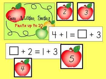 It's the Same As - Easy Addition/Subtraction Sorts with Missing Variables