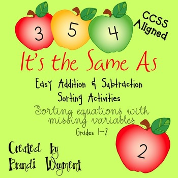 It's the Same As - Easy Addition/Subtraction Sorts with Mi