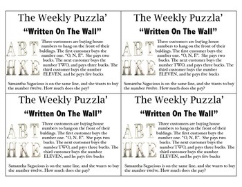 Math Puzzler Brain Teaser: Written on the Wall