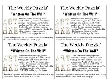 Math Puzzler Brain Teaser: Written on the Wall