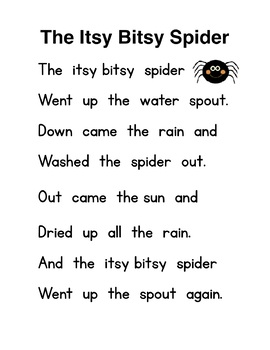 Itsy Bisty Spider Poem and pocket chart sentence strips