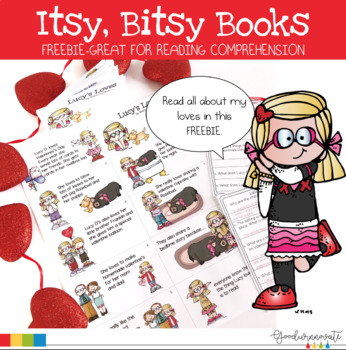 Reading Comprehension Mini Book for Younger Students Valentines Themed